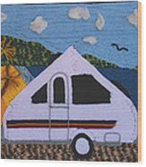 A'van By The Sea Wood Print by Patricia Tapping