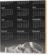 Baby Shoes Calendar 2013 Wood Print by Jane Rix