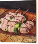 Bacon And Pepper Skewers Wood Print by Yali Shi
