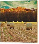 Bales Of Autumn Wood Print by Bill Tiepelman