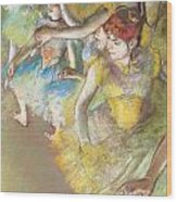 Ballet Dancers On The Stage Wood Print by Edgar Degas