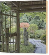 Bamboo Gate And Traditional Arch Wood Print by Douglas Orton