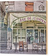 Bar De L'entracte Wood Print by Stephanie Benjamin