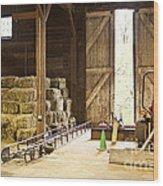 Barn With Hay Bales And Farm Equipment Wood Print by Elena Elisseeva