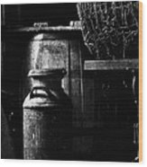 Barrel In The Barn Wood Print by Jim Finch