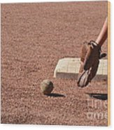 baseball and Glove Wood Print by Randy J Heath