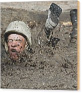 Basic Cadet Trainees Attack The Mud Pit Wood Print by Stocktrek Images