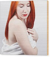 Beautiful Redhead Studio Shot Wood Print by Gabriela Insuratelu