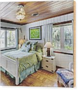 Bedroom With A Wood Ceiling Wood Print by Skip Nall
