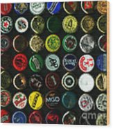 Beer Bottle Caps . 9 To 12 Proportion Wood Print by Wingsdomain Art and Photography