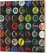 Beer Bottle Caps . 8 To 12 Proportion Wood Print by Wingsdomain Art and Photography