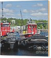 Belfast Tugboats Wood Print by Susan Cole Kelly