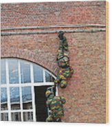 Belgian Paratroopers Rappelling Wood Print by Luc De Jaeger