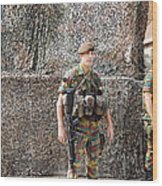 Belgian Soldier On Guard Wood Print by Luc De Jaeger