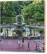 Bethesda Fountain Overlooking Central Park Pond Wood Print by Paul Ward