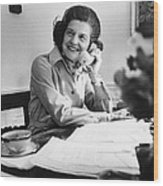 Betty Ford Works At Her Desk Situated Wood Print by Everett
