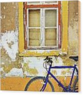 Bike Window Wood Print by Carlos Caetano