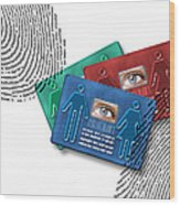 Biometric Id Cards Wood Print by Victor Habbick Visions