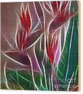 Bird Of Paradise Fractal Panel 2 Wood Print by Peter Piatt