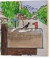 Bird On The Mailbox Sketchbook Project Down My Street Wood Print by Irina Sztukowski