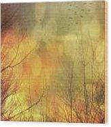 Birds In Flight At Sunset Wood Print by Sandra Cunningham