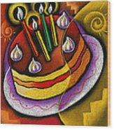Birthday  Cake  Wood Print by Leon Zernitsky