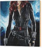 Black Widow Wood Print by Tom Carlton