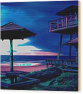 Blacklight Tower Wood Print by DigiArt Diaries by Vicky B Fuller