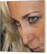 Blond Woman Strict Wood Print by Henrik Lehnerer