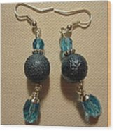 Blue Ball Sparkle Earrings Wood Print by Jenna Green