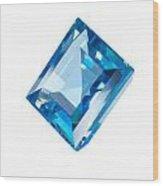 Blue Gem Isolated Wood Print by Atiketta Sangasaeng