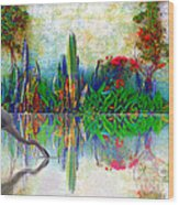 Blue Heron In My Mexican Garden Wood Print by John  Kolenberg