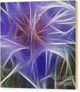 Blue Hibiscus Fractal Panel 5 Wood Print by Peter Piatt