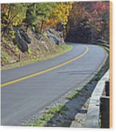 Blue Ridge Parkway Autumn Road Wood Print by Bruce Gourley