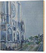 Blue Study Of Chartre Wood Print by Carol Mangano