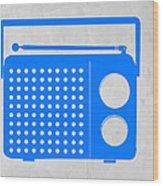 Blue Transistor Radio Wood Print by Naxart Studio