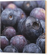Blueberry Background Wood Print by Jane Rix