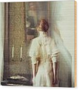 Blurry Image Of A Woman In Vintage Dress  Wood Print by Sandra Cunningham