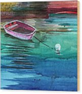 Boat And The Buoy Wood Print by Anil Nene