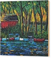 Boat Dock In The Evening Wood Print by Reb Frost