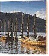 Boats Docked On A Pier, Keswick Wood Print by John Short