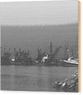 Boats In Harbor Charcoal Wood Print by Chalet Roome-Rigdon