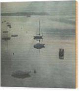 Boats In Mist Wood Print by Joana Kruse