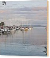 Boats In The Harbour At Sunset Thunder Wood Print by Susan Dykstra