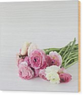 Bouquet Of Ranunculus Wood Print by Elin Enger