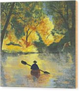 Bourbeuse River Sunrise Wood Print by Garry McMichael