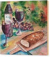 Bread And Wine Wood Print by Sharon Mick