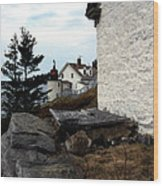 Browns Head Lighthouse Wood Print by Skip Willits