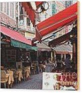 Brussels Restaurant Street - Rue De Bouchers Wood Print by Carol Groenen
