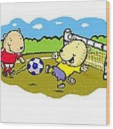 Busy Beaver Soccer Wood Print by Scott Nelson